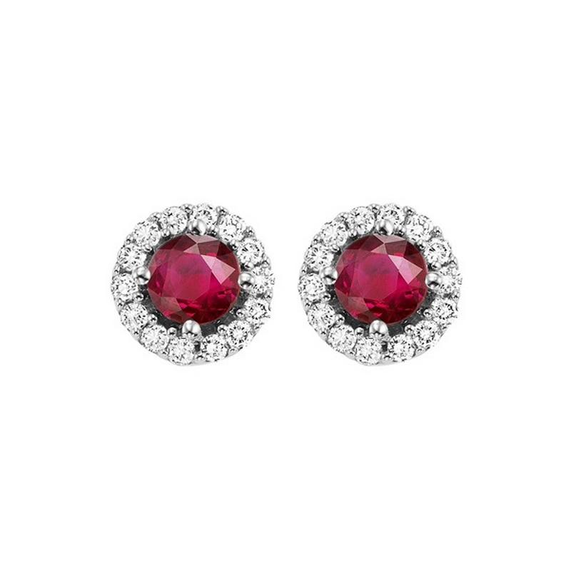 14kw color ens halo prong ruby earrings 1/7ct, fb1166-1wc