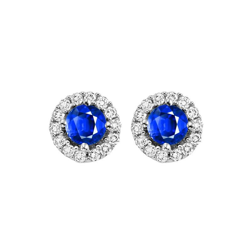 14kw color ens halo prong sapphire earrings 1/7ct, fb1165-1wc