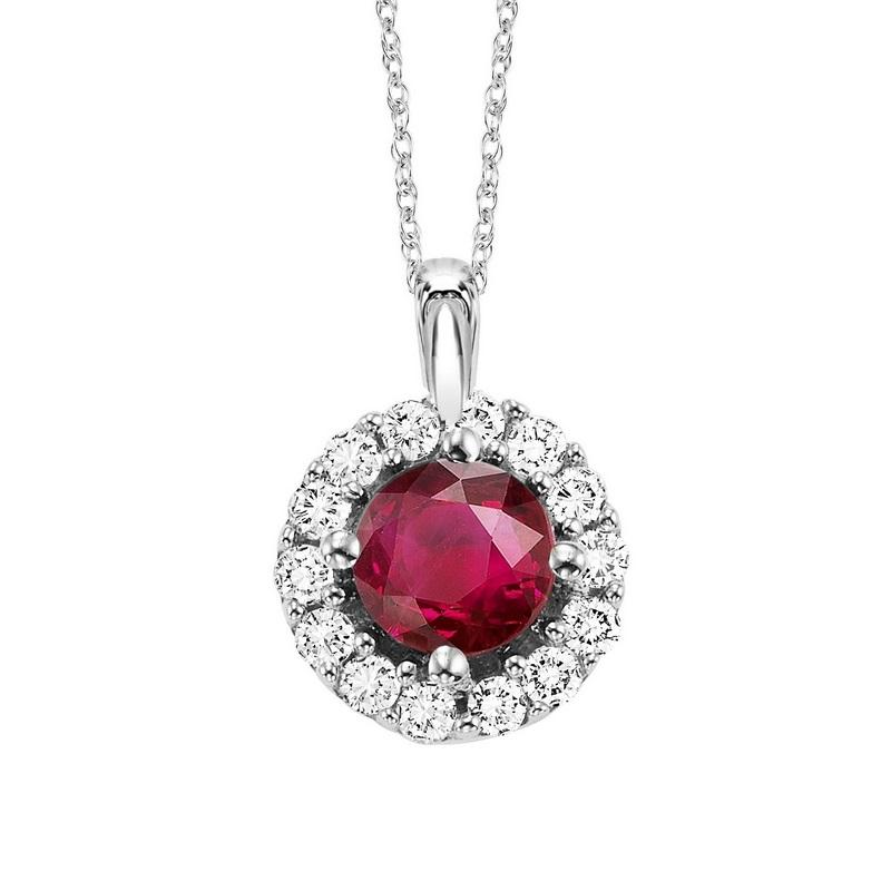 14kw color ens halo prong ruby pendant 1/12ct, fb1168/50-4wc