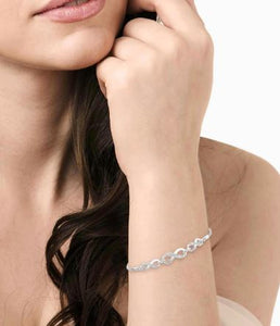 1/20 Ctw Triple Infinity Link Round Cut Diamond Sterling Silver Lariat Tennis Bracelet