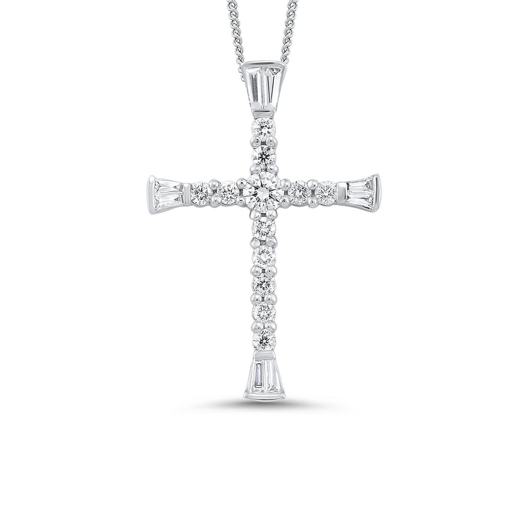 14kw cross prong diamond necklace 3/8ct, fr1241-4w