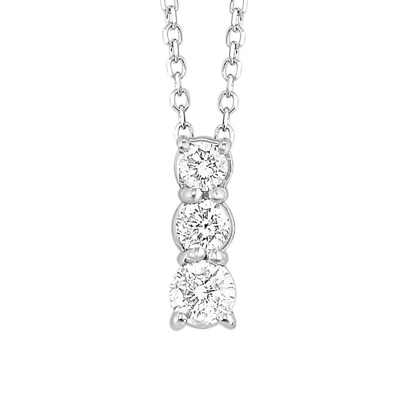 14kw 3 stone prong diamond necklace 1/4ct, fr1034-1p
