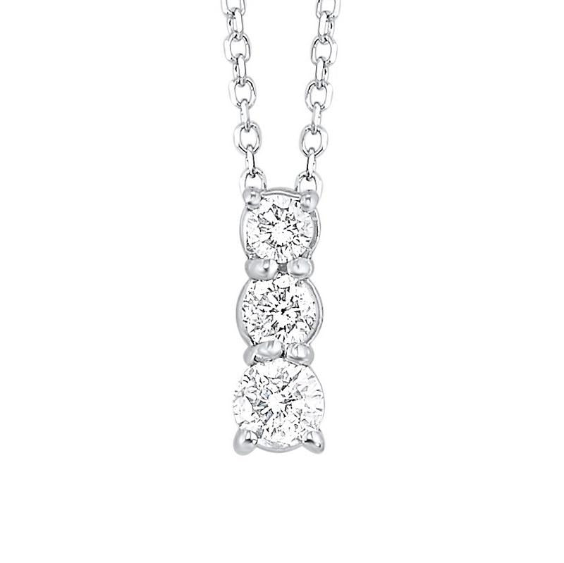 14kw 3 stone prong diamond necklace 3/4ct, fr1034-1w