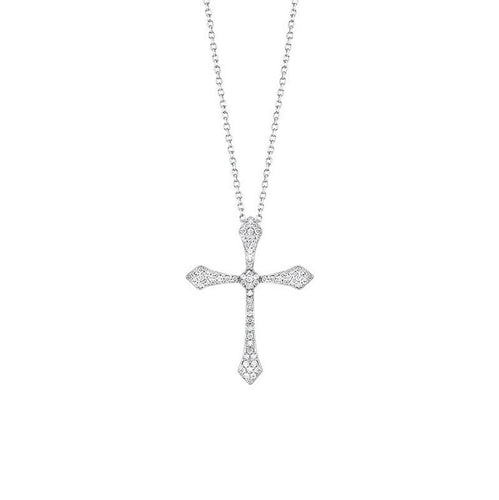 14kw cross shared prong diamond necklace 1/3ct, fr1217-1w