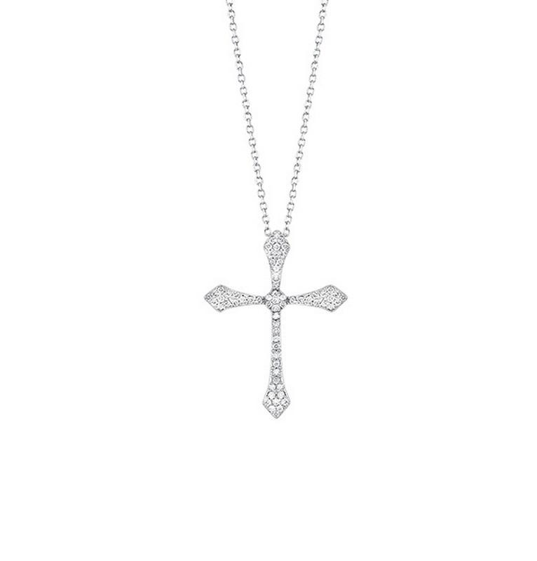 14kw cross shared prong diamond necklace 1/20ct, fr1035-1y