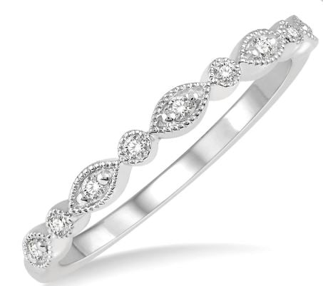 1/10 Ctw Marquise & Circular Mount Round Cut Diamond Stackable Band in 14K White Gold