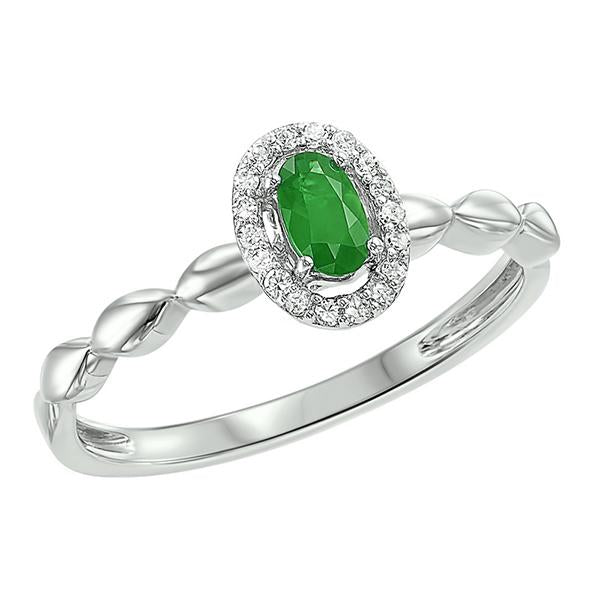 10kw color ens prong emerald ring 1/14ct, fr1036-1wd