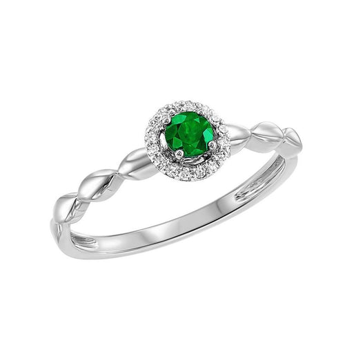 10kw color ens prong emerald ring 1/15ct, fr1263-1wd