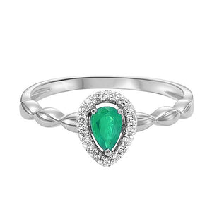 10kw color ens prong emerald ring 1/14ct, fr1030-1wd