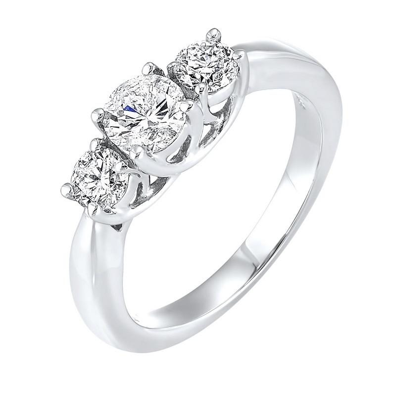 14kw 3 stone round prong ring 3/4ct, fr1243-4p