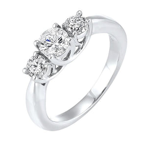 14kw 3 stone round prong ring 1ct, fr1219-1w