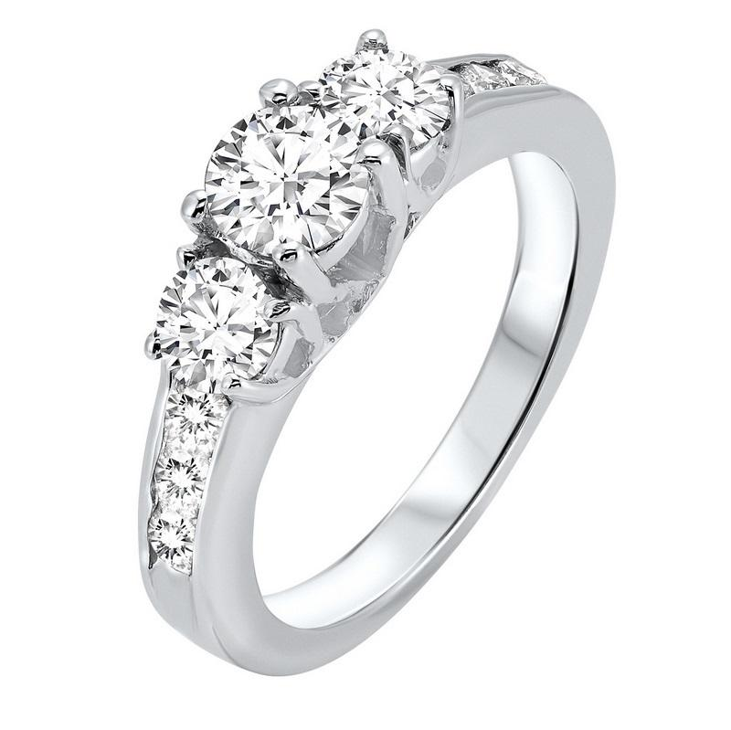14kw 3 stone round prong ring 2ct, fr1206-1pd