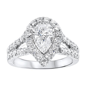 14kw tru ref pear halo prong ring 1 1/2ct, rol2045-sswd
