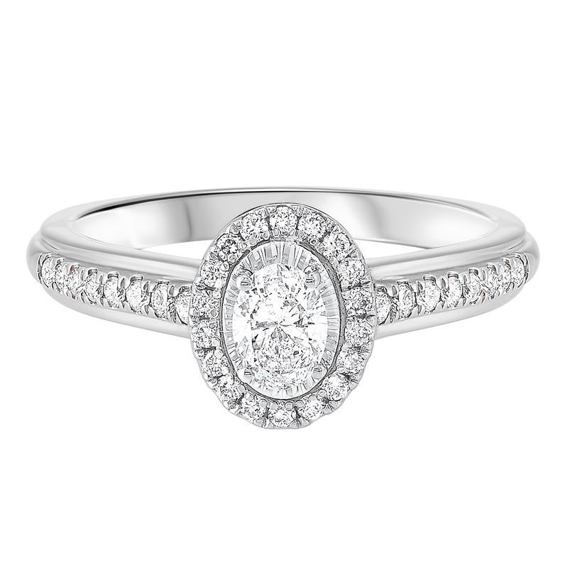 14kw tru ref oval halo prong ring 3/5ct, rol1023-1pc