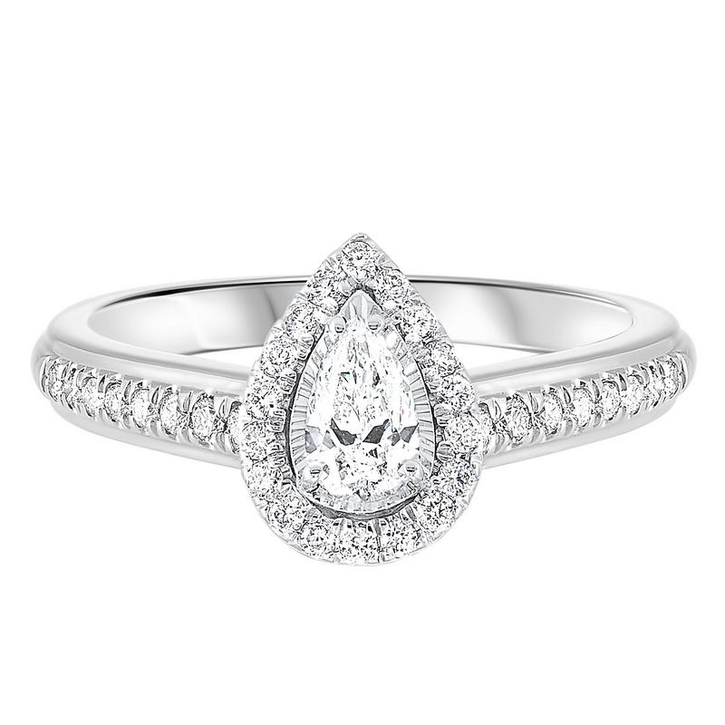 14kw tru ref pear halo prong ring 3/5ct, pd10311-4pf