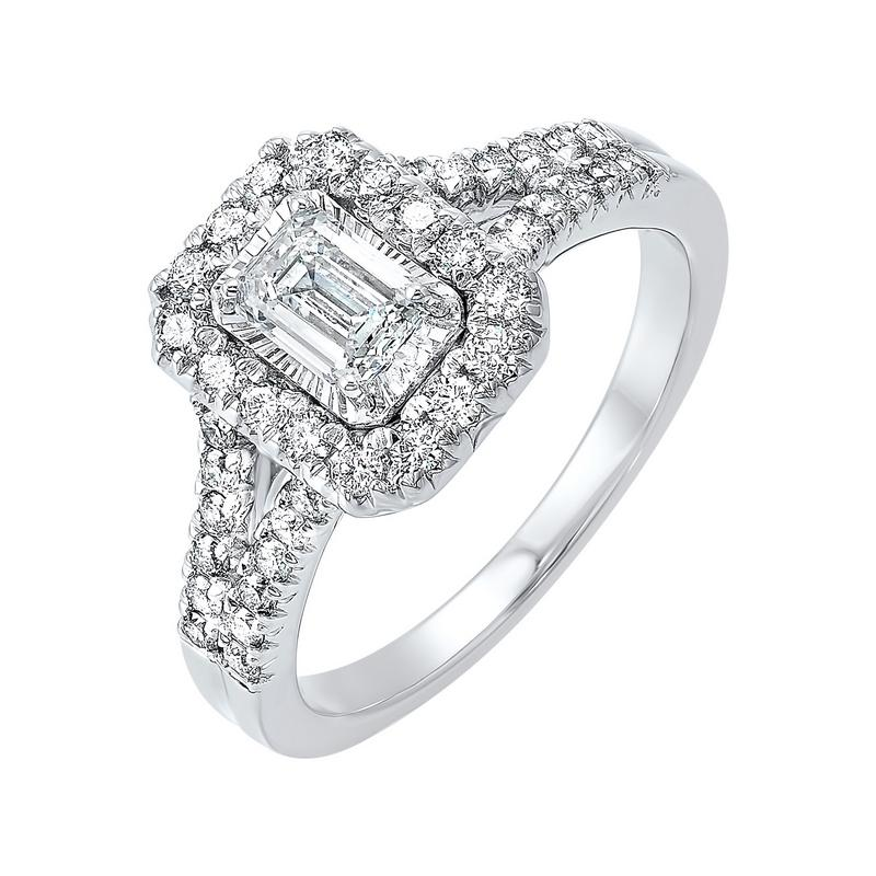 14kw tru ref emerald halo prong ring 3/4ct, fb1161-sswpsc