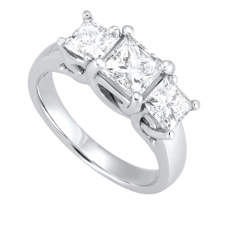 14kw 3 stone princess prong ring 2ct, fr1031-1p