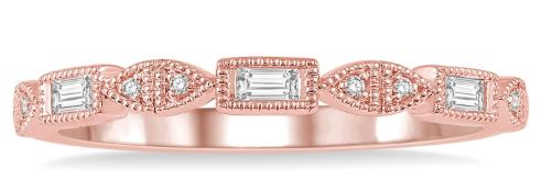 1/10 Ctw Baguette & Round Cut Diamond Stackable Band in 14K Rose Gold