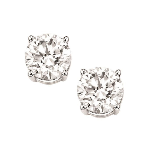 14kw prong round diamond studs 1ct, fr1458-4pd