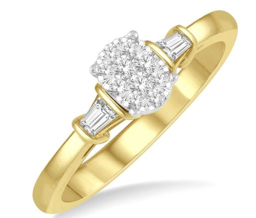 1/5 ctw Oval Shape Round Cut & Baguette Diamond Lovebright Engagement Ring in 14K Yellow and White Gold
