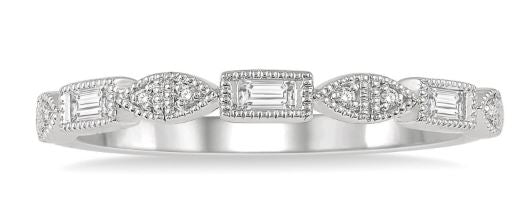 14K Stackable Diamond Wedding Band .10CTW