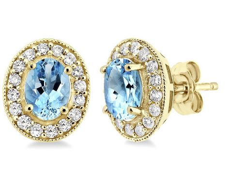 14KYG Oval Shape Aquamarine & Diamond Earrrings