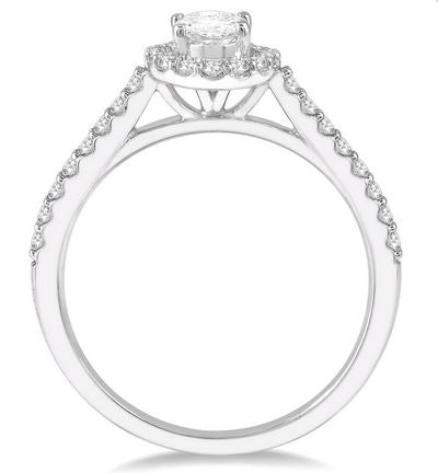 3/8 CTW Diamond Ladies Engagement Ring with 1/4 Ct Oval Cut Center Stone in 14K White Gold