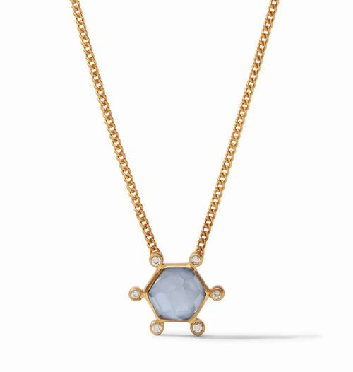 Cosmo Solitaire Necklace Iridescent Chalcedony Blue