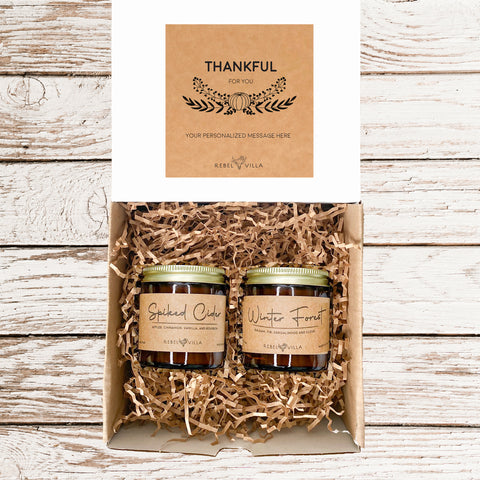 Fall soy candles spiked cider and winter forest scent gift set