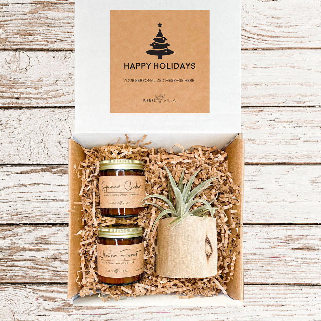 Happy Holidays Gift Box with Succulent and Candle