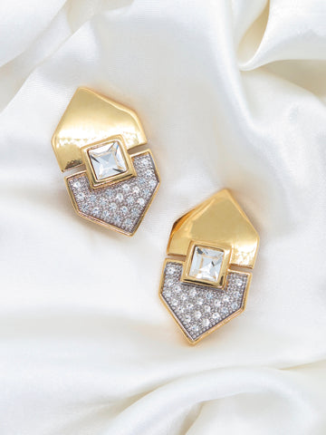 Vintage Gold Tone Diamante Diamond Clip-On Earrings