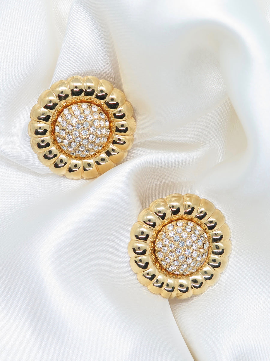Vintage Gold Tone Dimante Flower Clip-On Earrings