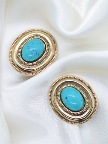 Vintage Turquoise Gold Clip-On Earrings