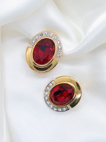 Vintage Red Gold Oval Clip-On Earrings