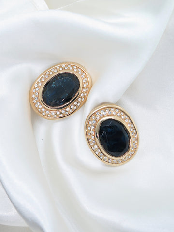 Vintage Blue Glass Gold Clip-On Earrings