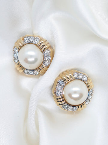 Vintage Gold Tone Pearl Hexagon Clip-On Earrings