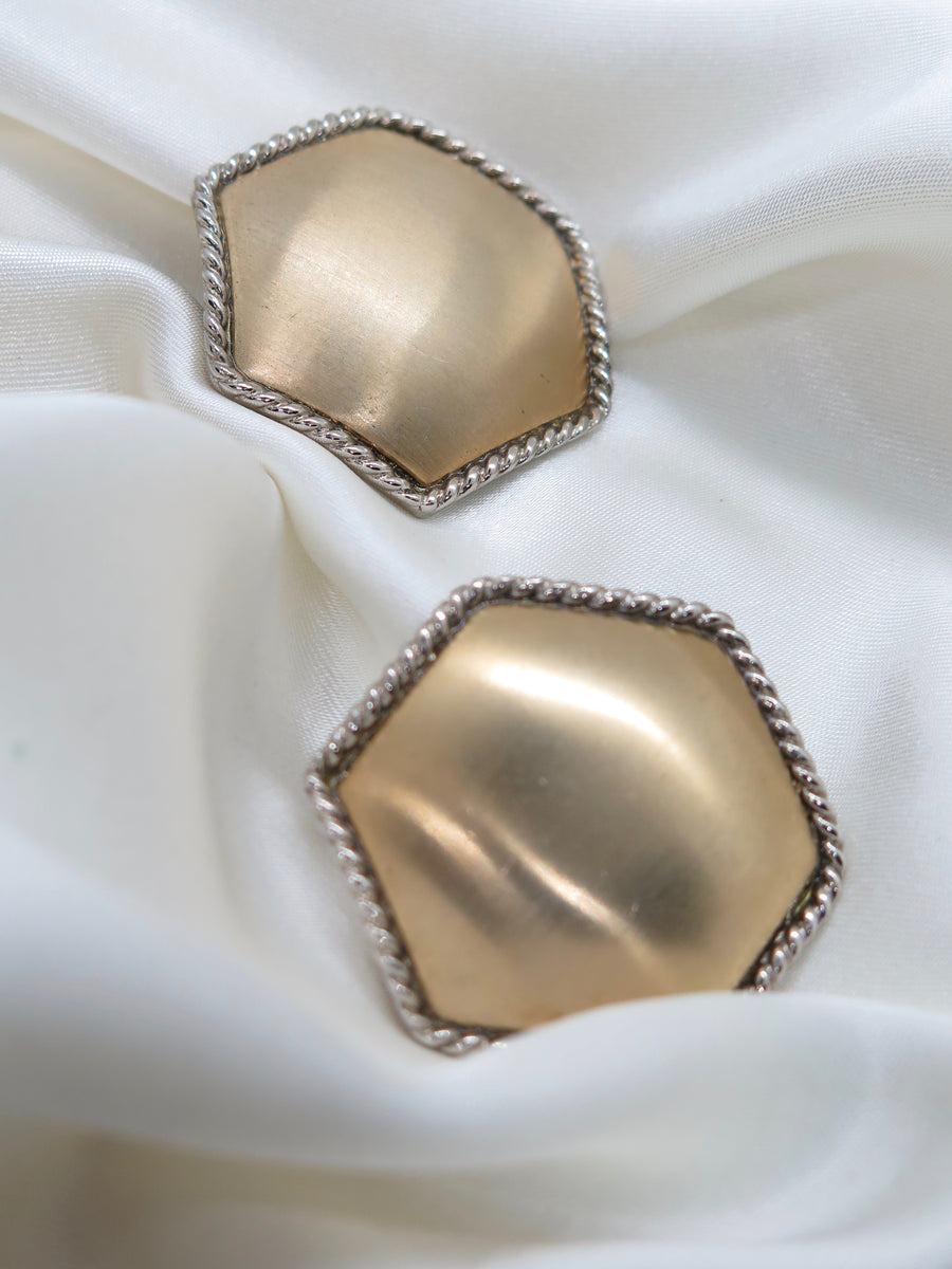 Vintage Gold Tone Hexagon Clip-On Earrings