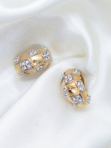 Vintage Gold Tone Diamante Hoop Clip-On Earrings