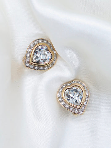 Vintage Heart Glass Clip-On Earrings
