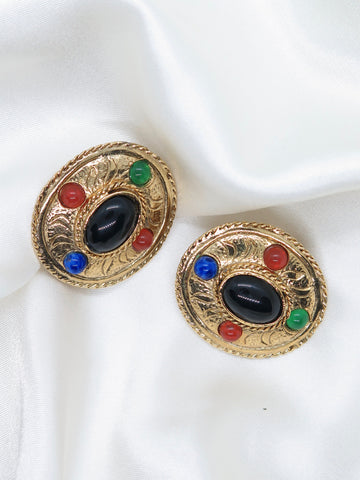 Vintage Multicoloured Jewel Clip-On Earrings