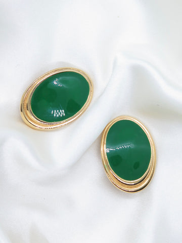 Vintage Green Gold Clip-On Earrings