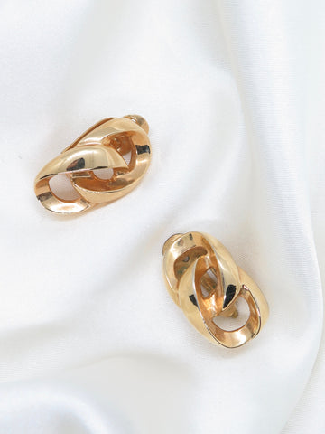 Vintage Gold Tone Chain Clip-On Earrings