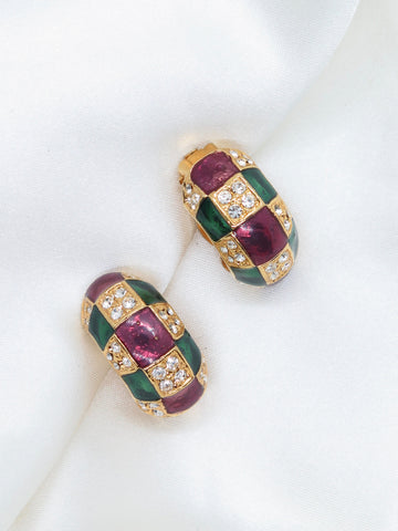 Vintage Check Diamante Clip-On Earrings