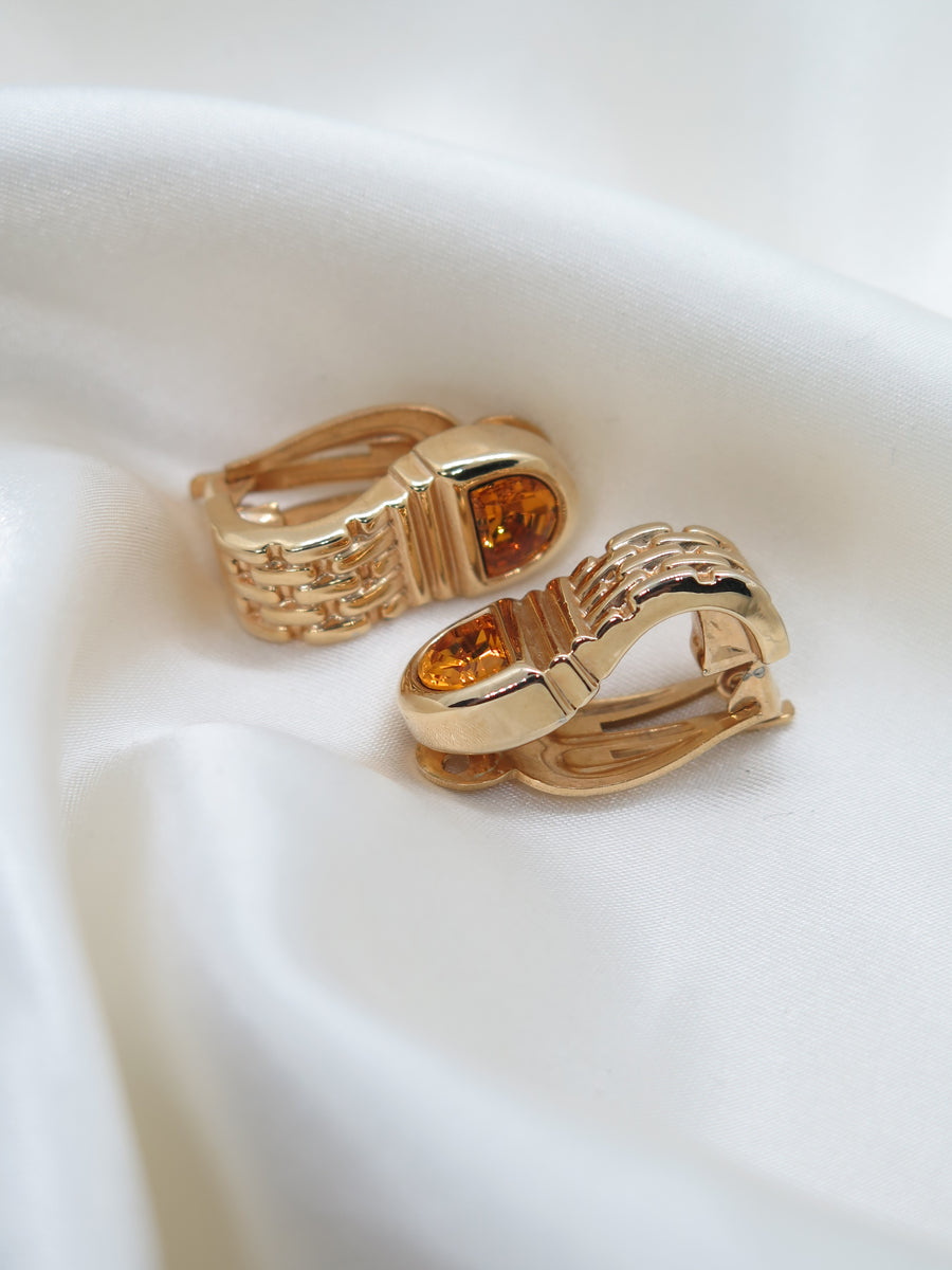 Vintage Gold Tone Orange Chain Clip-On Earrings