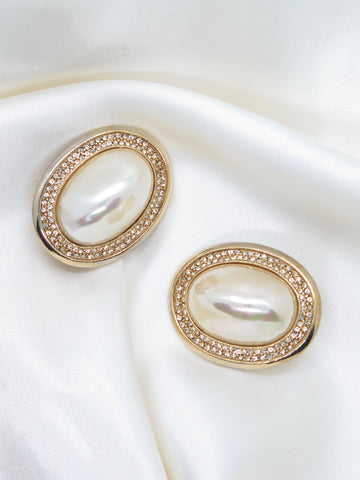Vintage Gold Tone Pearl Diamante Clip-On Earrings