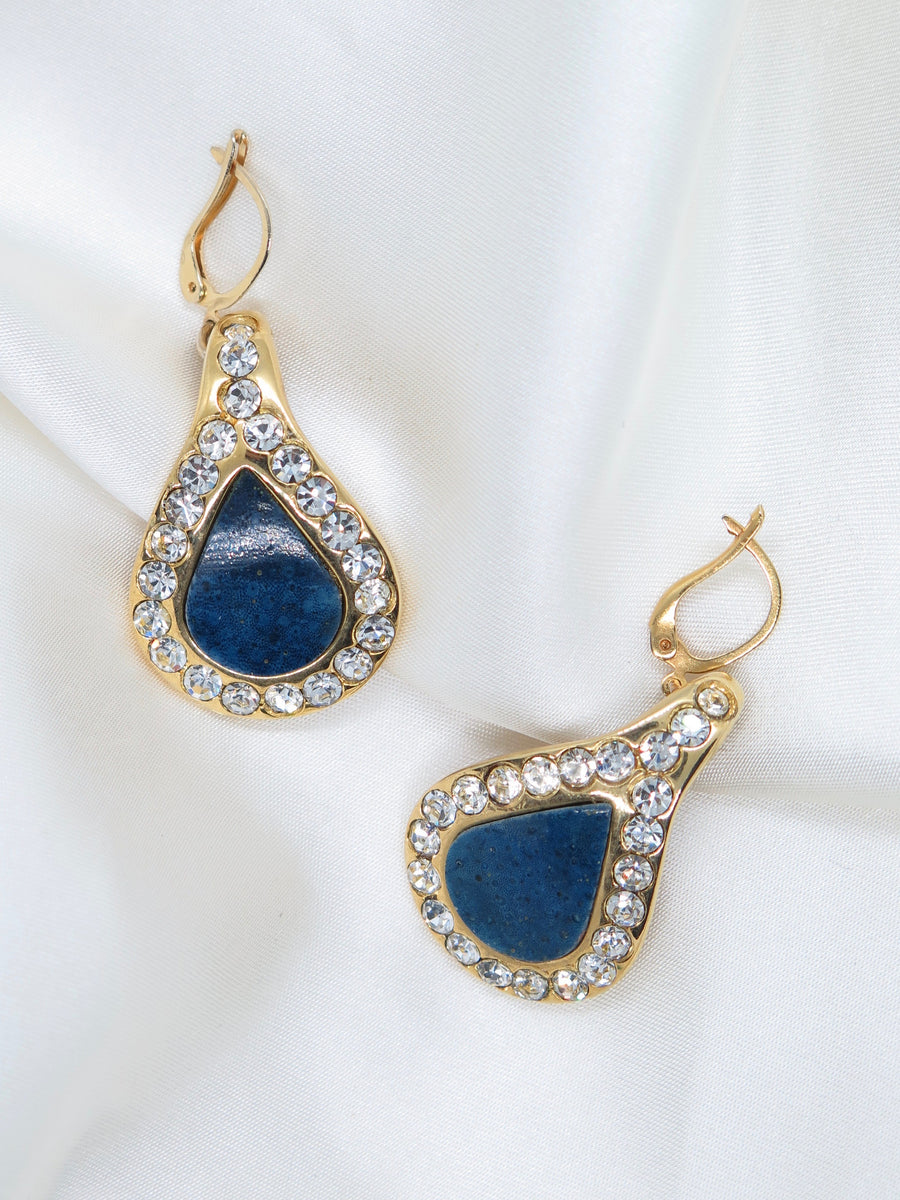 Vintage Blue Diamante Drop Earrings
