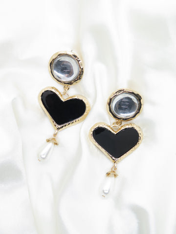 Heart Dangle Gold Tone Pearl Earrings