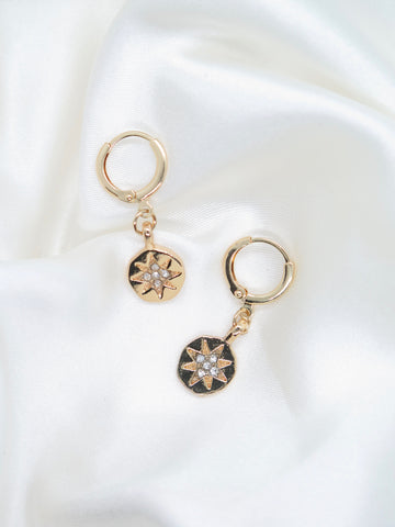 Gold Plated Star Charm Small Hoop Earrings