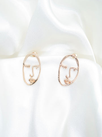 Face Gold Tone Stud Earrings