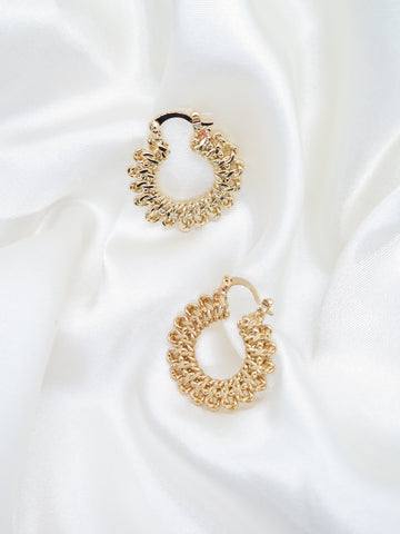 Gold Plated Flat Chain Hoop Earrings